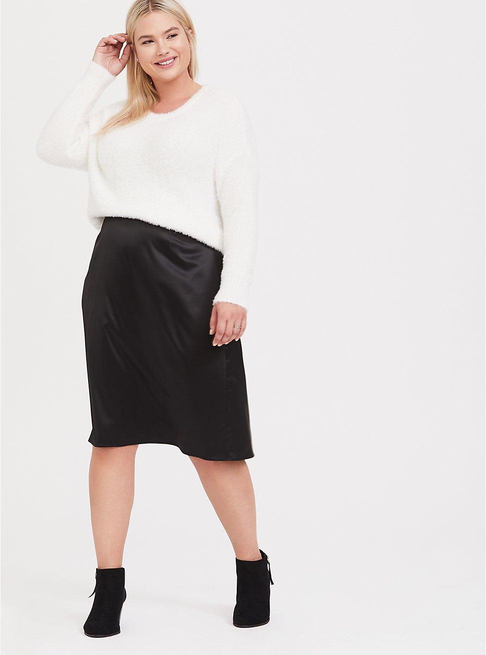 Black Satin Slip Skirt, DEEP BLACK, hi-res
