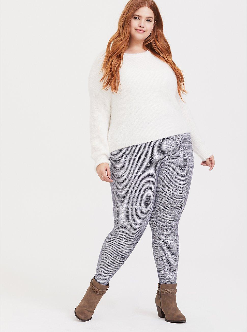 Sweater-Knit Legging - Space-Dye Navy , PEACOAT, hi-res