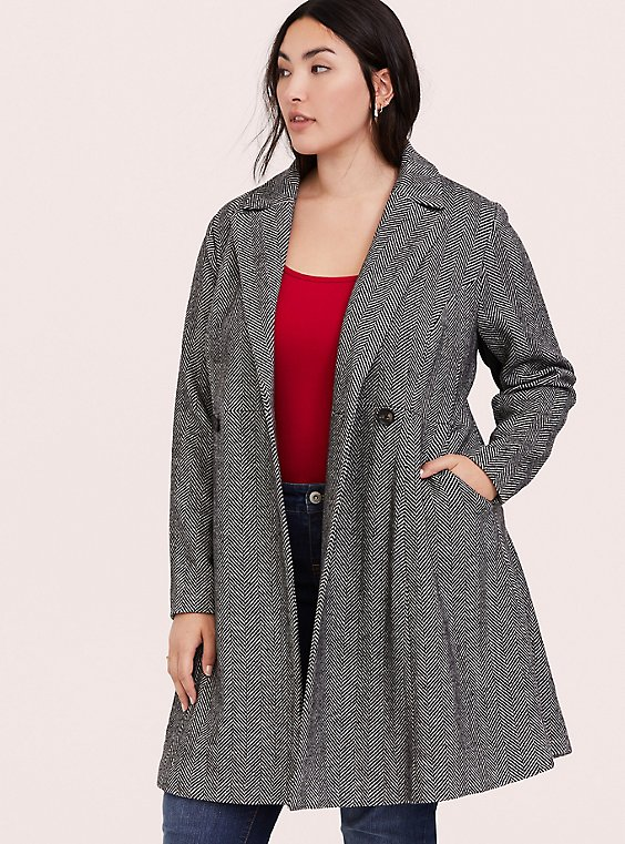 Herringbone Woolen Fit & Flare Coat, , hi-res