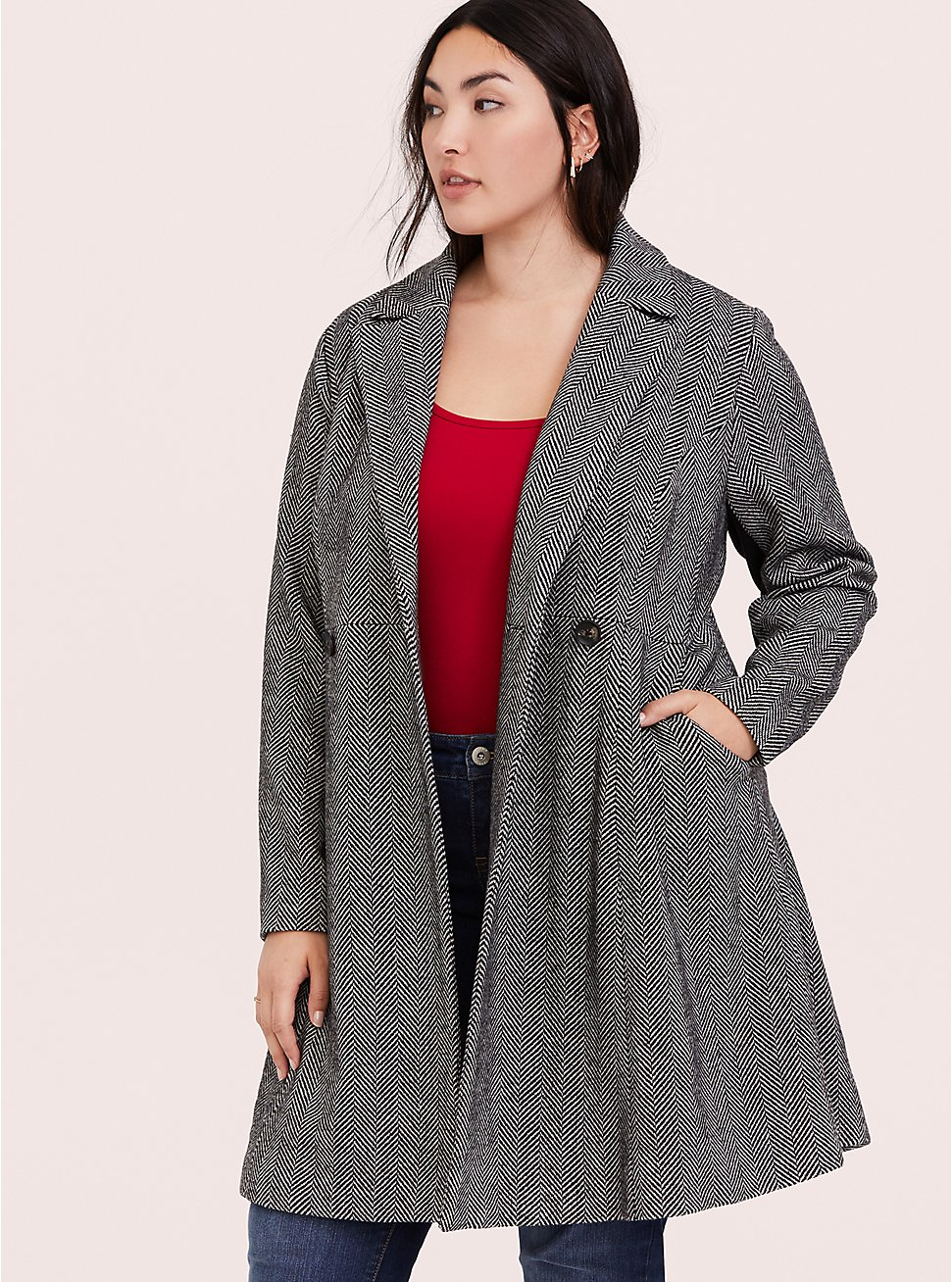 Herringbone Woolen Fit & Flare Coat 4