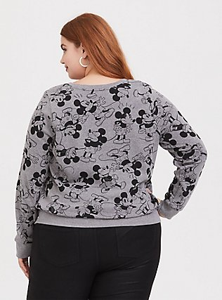 Plus Size Disney Mickey Mouse Print Grey Sweatshirt, HEATHER GRAY  BLACK, alternate