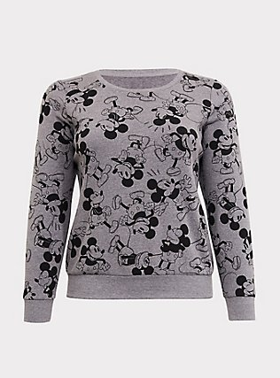 Plus Size Disney Mickey Mouse Print Grey Sweatshirt, HEATHER GRAY  BLACK, flat