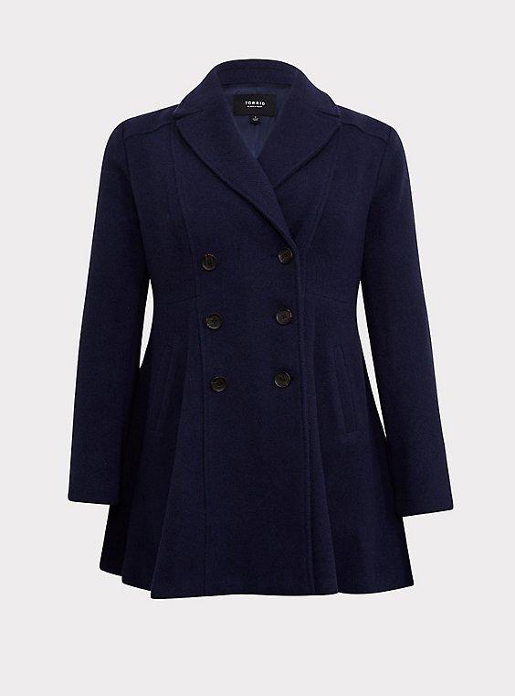 Navy Woolen Double-Breasted Coat, , flat
