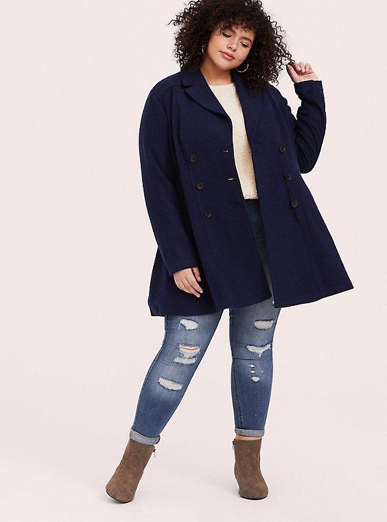 Navy Woolen Double-Breasted Coat, , hi-res