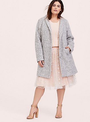 Marled Light Grey Hacci Funnel Neck Coat, HEATHER, alternate