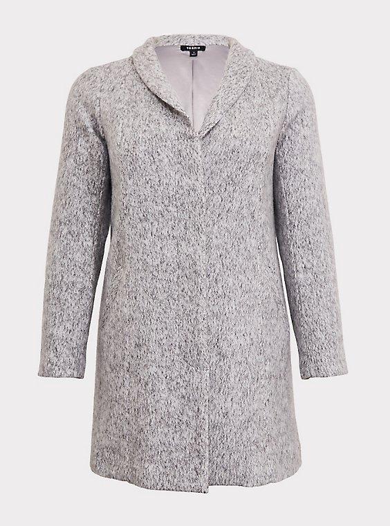 Marled Light Grey Hacci Funnel Neck Coat, , flat