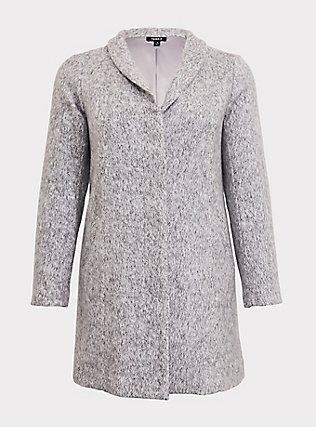 Marled Light Grey Hacci Funnel Neck Coat, HEATHER, flat