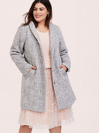 Plus Size Marled Light Grey Hacci Funnel Neck Coat, HEATHER, hi-res
