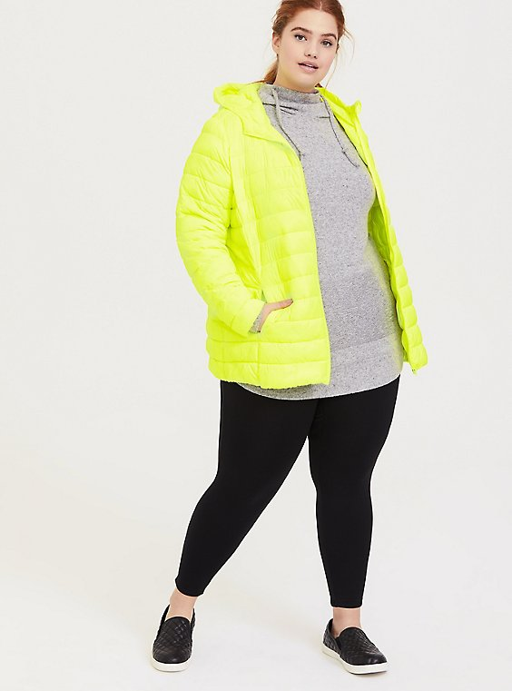 Neon Yellow Nylon Packable Puffer Jacket, , hi-res