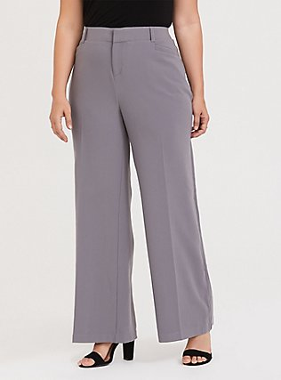 Slate Grey Structured Wide Leg Pant, DARK PEARL GREY, alternate