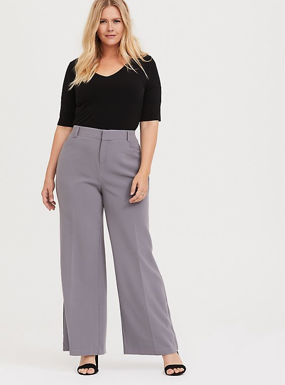 Grey Structured Wide Leg Pant, , hi-res
