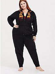 Harry Potter Scarf Black Fleece Onesie, DEEP BLACK, alternate