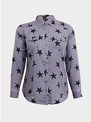 Taylor - Grey & Black Star Button Front Slim Fit Shirt, MULTI, hi-res