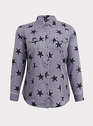 Taylor - Grey & Black Star Button Front Slim Fit Shirt, MULTI, flat