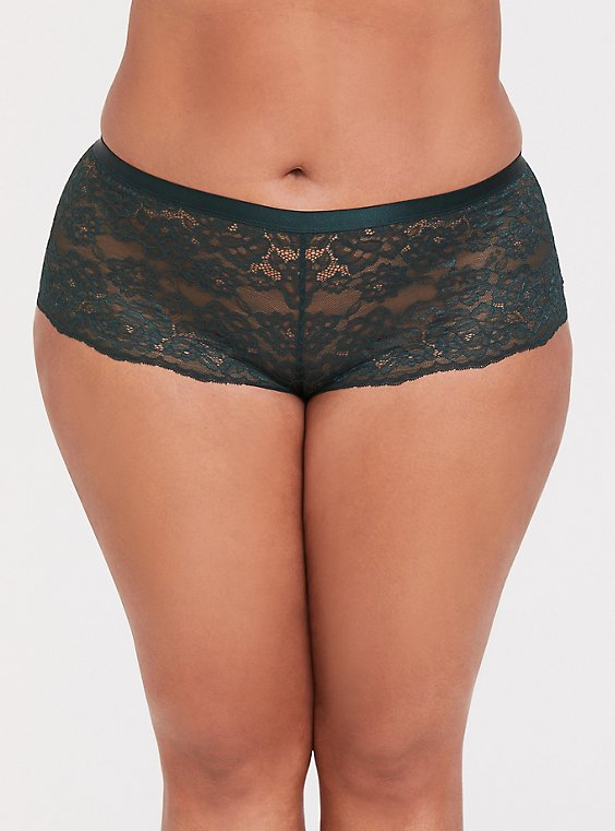 Dark Green Lattice Back Lace Cheeky Short , , hi-res