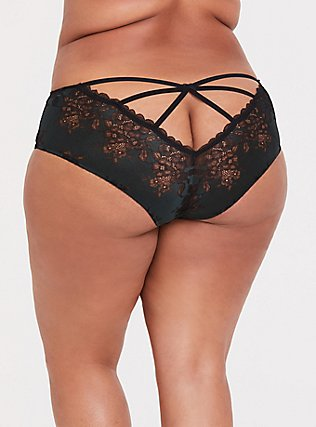 Forest Green & Black Lace Caged Hipster Panty, GREEN GABLES, alternate