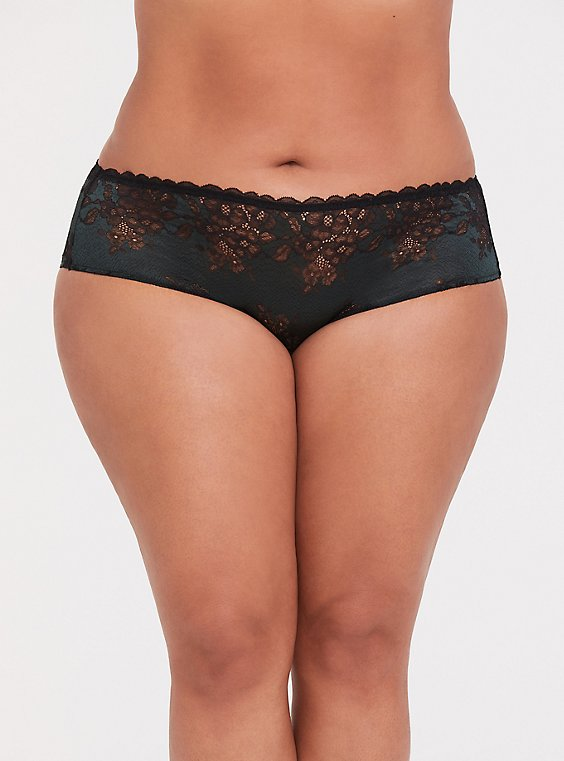 Plus Size Forest Green & Black Lace Caged Hipster Panty, , hi-res