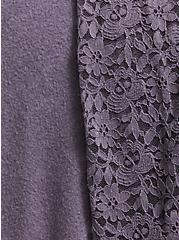 Slate Grey Brushed Hacci & Lace Long Sleeve Tunic Tee, DARK PEARL GREY, alternate