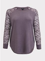Slate Grey Brushed Hacci & Lace Long Sleeve Tunic Tee, DARK PEARL GREY, hi-res