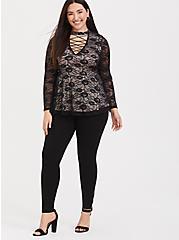 Black Lace Lattice Peplum Top, DEEP BLACK, alternate