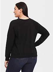 Black Floral Satin Front Raglan Sweatshirt, FLORAL - BLACK, alternate