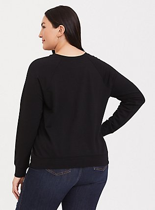 Plus Size Black Floral Satin Front Raglan Sweatshirt, FLORAL - BLACK, alternate