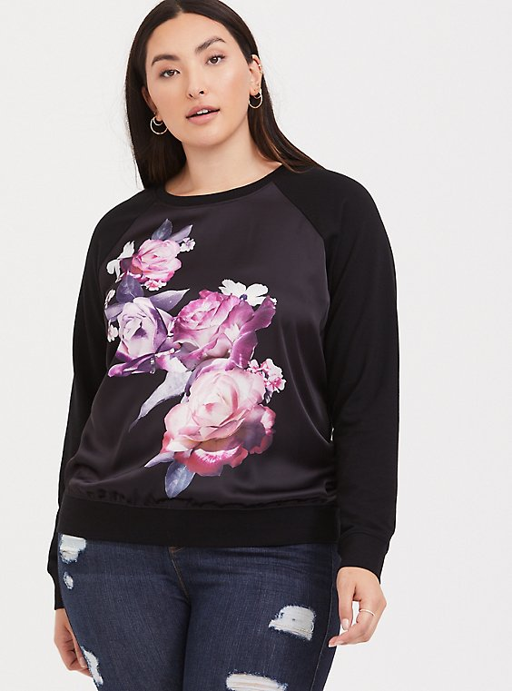 Black Floral Satin Front Raglan Sweater, , hi-res