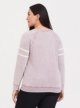 Plus Size Pink Mineral Wash Varsity Sweatshirt, GRAPE, alternate