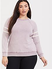 Pink Mineral Wash Varsity Sweatshirt, GRAPE, hi-res