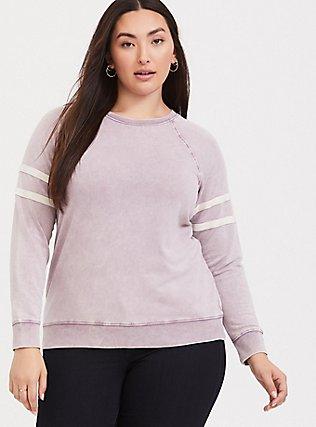 Plus Size Pink Mineral Wash Varsity Sweatshirt, GRAPE, hi-res