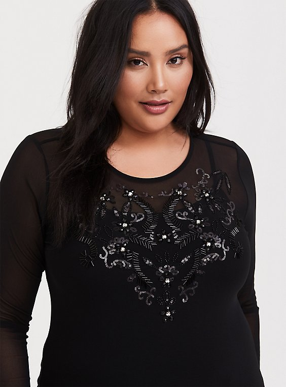 Black Mesh Embellished Top, , hi-res