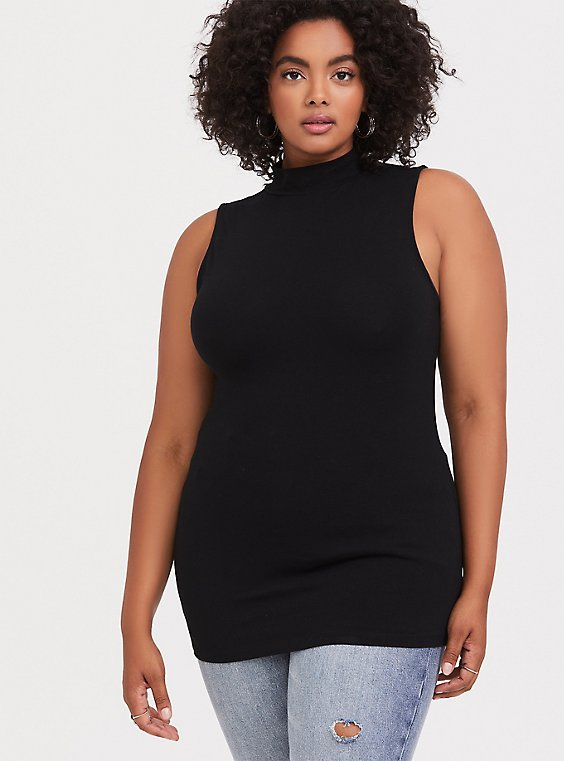 Black Mock Neck Foxy Tank, , hi-res