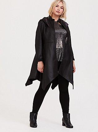 Her Universe Star Wars Episode 9 Kylo Ren Black Faux Suede Hooded Coat, DEEP BLACK, hi-res