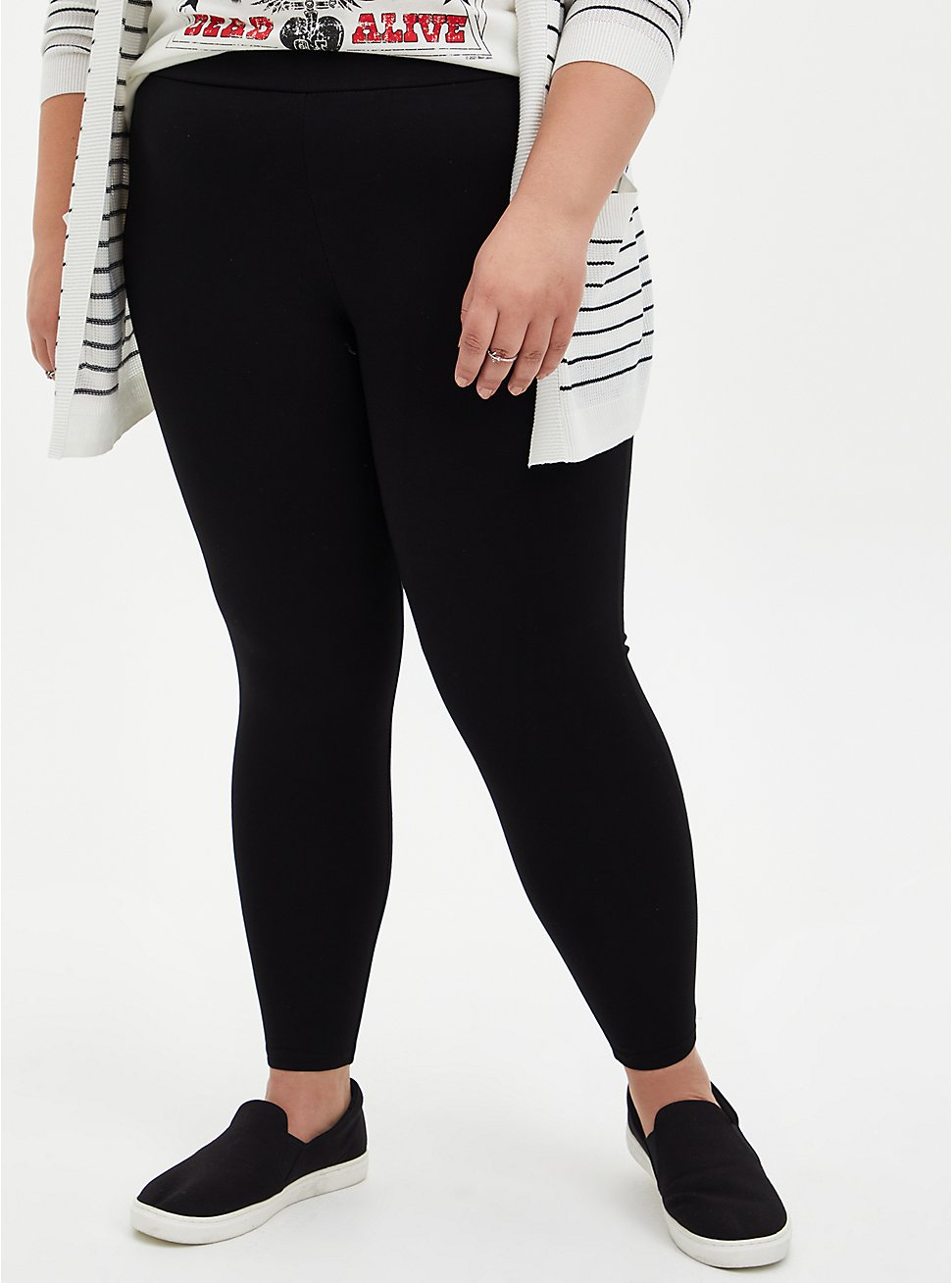 Plus Size Platinum Legging - Ponte Black , BLACK, hi-res