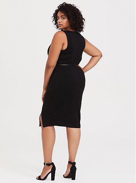 Black Premium Ponte Sheath Dress with Belt, DEEP BLACK, alternate