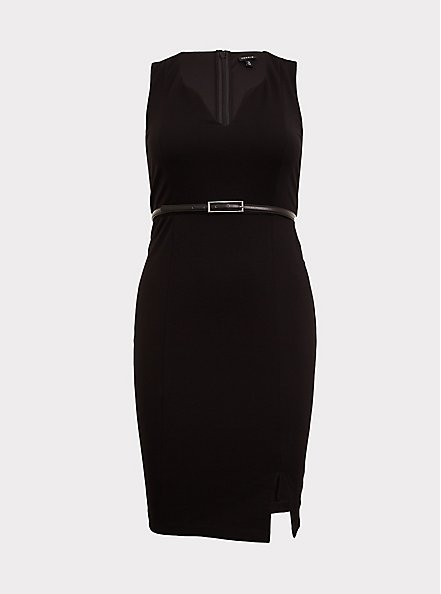 Black Premium Ponte Sheath Dress with Belt, DEEP BLACK, hi-res