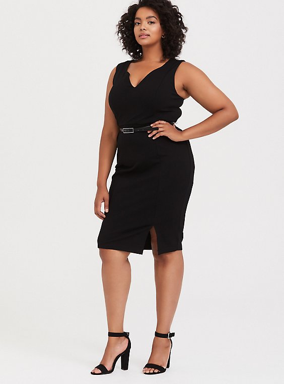 Plus Size Black Premium Ponte Sheath Dress with Belt, , hi-res