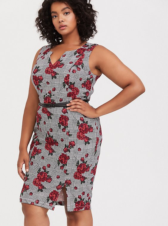 Plaid & Floral Premium Ponte Sheath Dress with Belt, , hi-res
