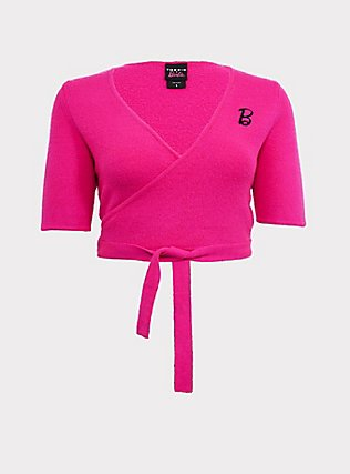 Barbie Neon Pink Wrap Sweater, NEON PINK, flat