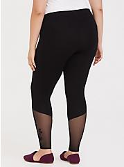 Premium Legging - Mesh Flocked Floral Black, BLACK, alternate