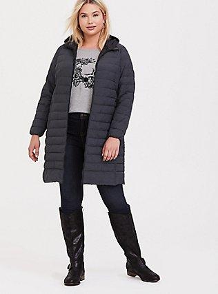 Dark Grey Packable Longline Puffer Jacket, HEATHER, hi-res