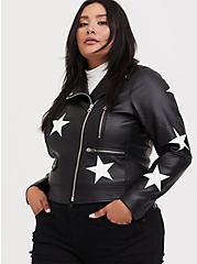 Plus Size Black Faux Leather & White Star Moto Jacket, , alternate