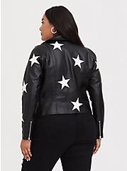 Black Faux Leather & White Star Moto Jacket, , alternate