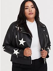 Black Faux Leather & White Star Moto Jacket, , hi-res