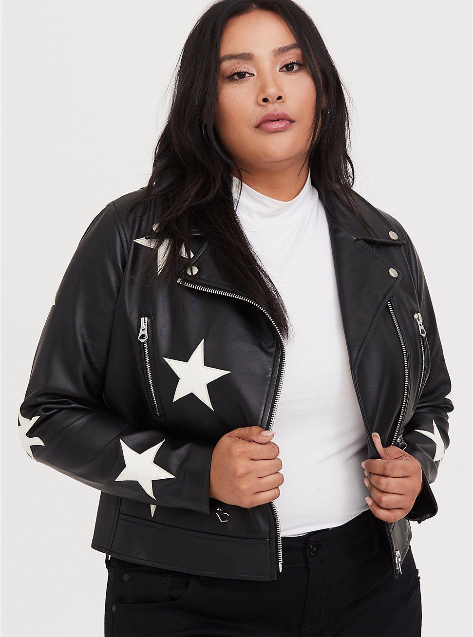 Plus Size Black Faux Leather & White Star Moto Jacket, , hi-res