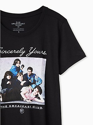 Plus Size The Breakfast Club Black Slim Fit Crew Tee, DEEP BLACK, alternate