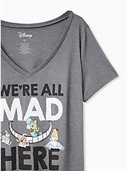 Plus Size Disney Alice In Wonderland We're All Mad Here Charcoal Grey Slim Fit Tee, CHARCOAL, alternate