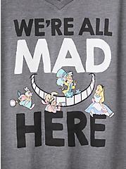 Disney Alice In Wonderland We're All Mad Here Charcoal Grey Slim Fit Tee, CHARCOAL, alternate