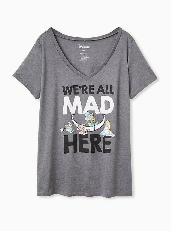 Plus Size Disney Alice In Wonderland We're All Mad Here Dark Grey Slim Fit Tee, , hi-res