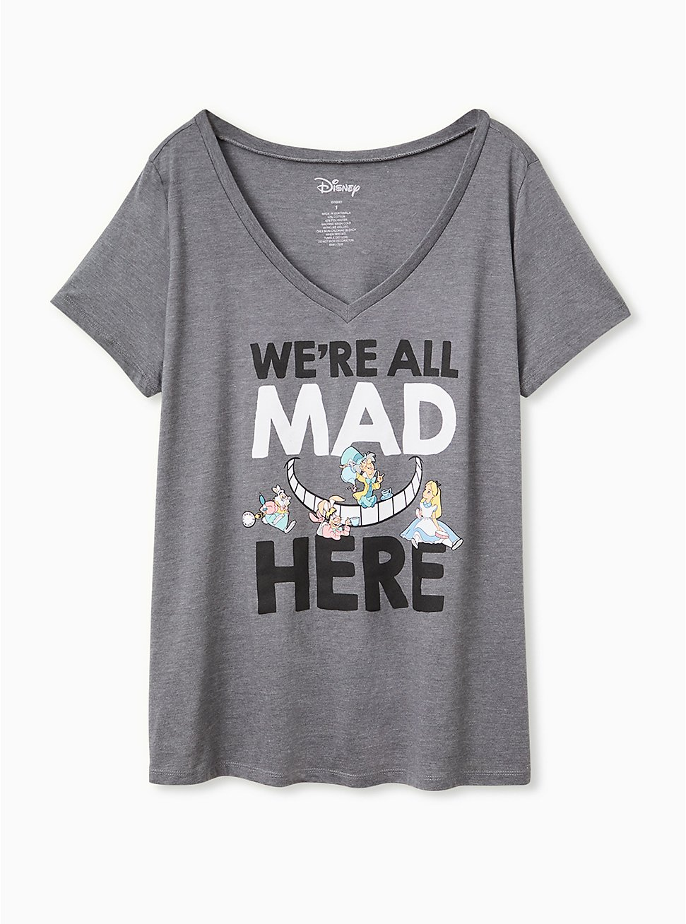 Plus Size Disney Alice In Wonderland We're All Mad Here Charcoal Grey Slim Fit Tee, CHARCOAL, hi-res